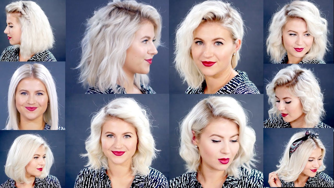 HOW TO 10 Easy Short HairStyles With Flat Iron Tutorial