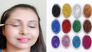 How to apply glitter eyeshadow (Hindi)| 2 easy STEPS for beginners |kaurtips ♥�