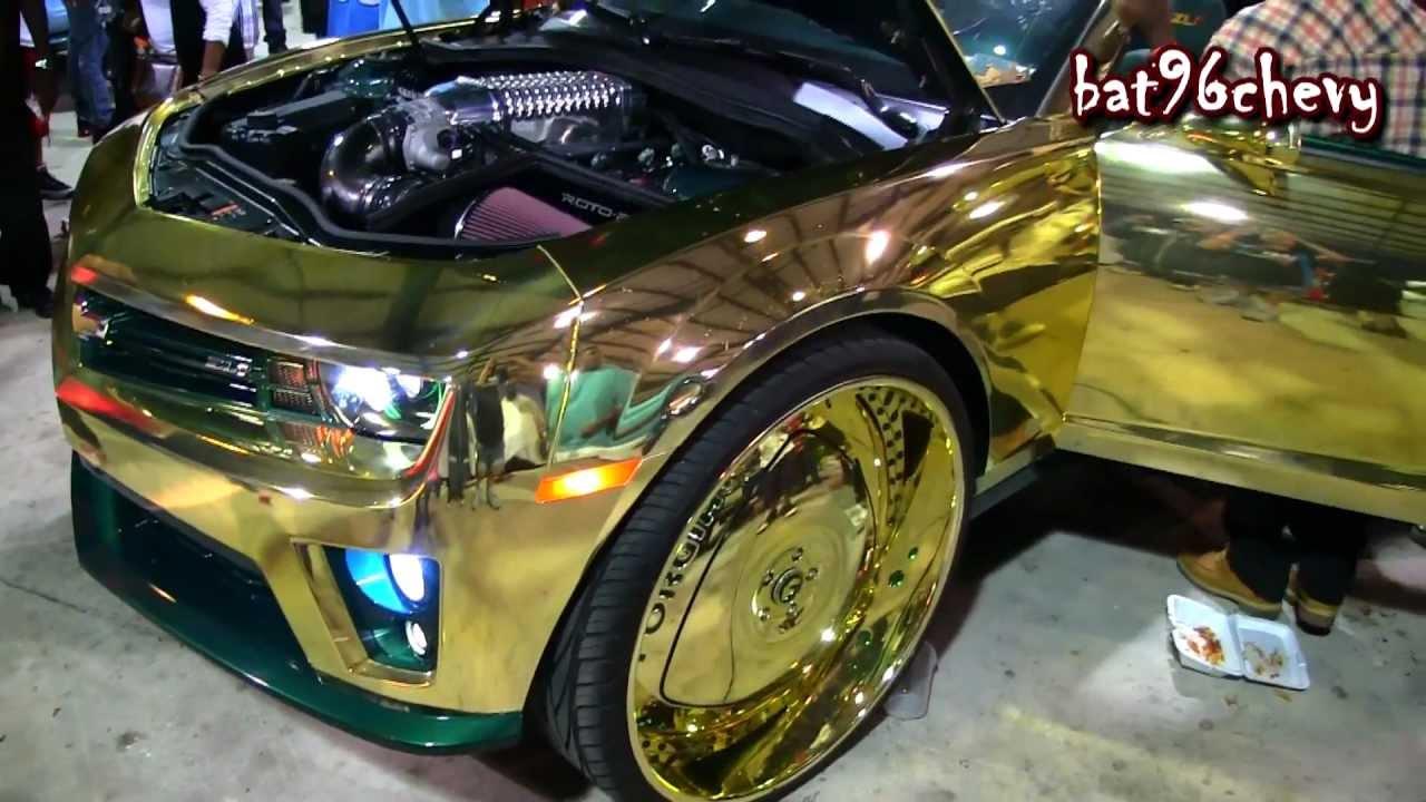 "GOLD CHROME CAMARO ZL1 Lifted on 30"" Forgiatos, GOLD Wheels - 1080p HD ..."