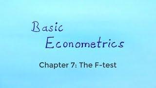 Basic Econometrics - The F-test
