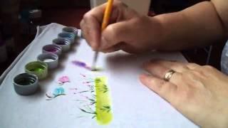 Pintura de avencas, grama, flores