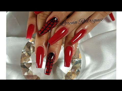 Spider Web Red Coffin Nails (English)