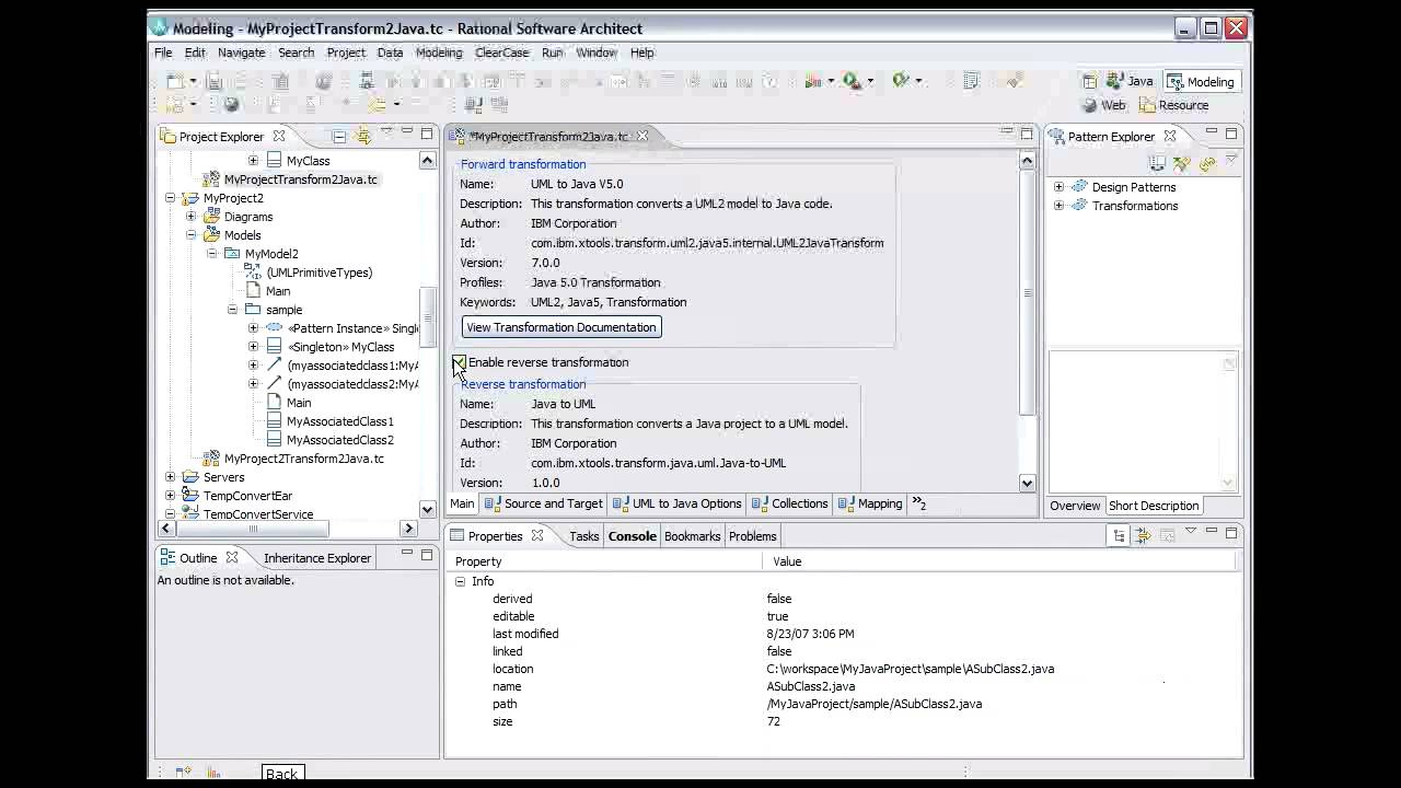 Ibm Rational Software Delivery Platform Java To Uml 9 Of 9 Youtube