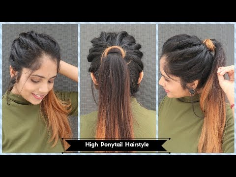 High Twisted Ponytail Hairstyle / Messy Ponytail Hairstyle For Long To  Medium  Hair thumbnail