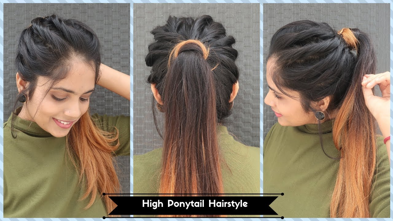 High Twisted Ponytail Hairstyle Messy Ponytail Hairstyle For Long To Medium Hair Youtube