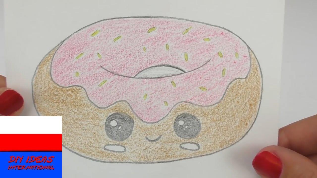 Malowanie i rysowanie | słodki Doughnut na kartke urodzinową bądź zaproszenie