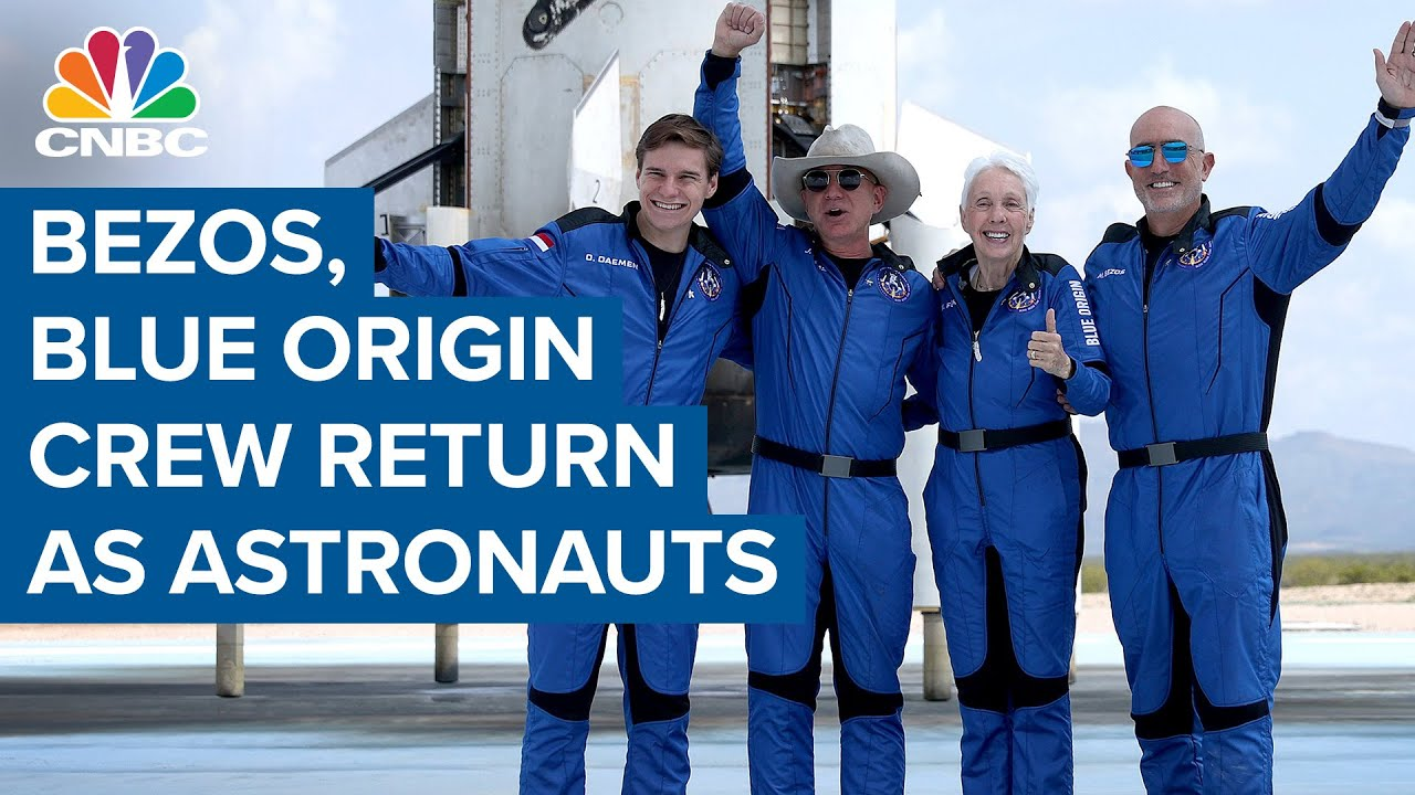 Download Jeff Bezos and Blue Origin crew return as astronauts after historic launch