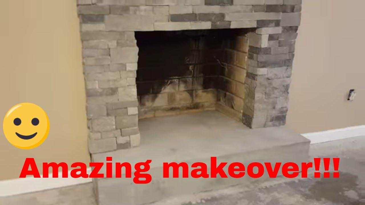 Installation of stone veneer AirStone around a fireplace  YouTube
