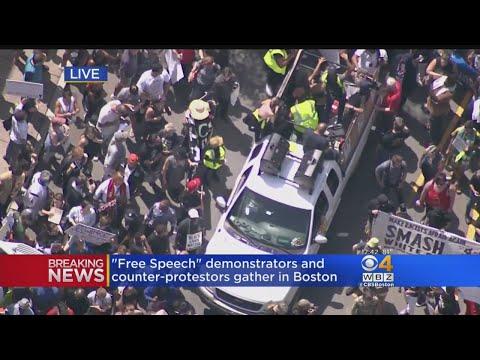 Roxbury Counter Protesters March To Boston Common