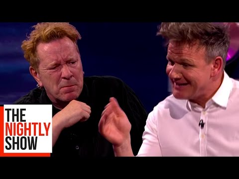 Chef Gordon Ramsay Demonstrates How to Make Sushi for Johnny Rotten of the Sex Pistols