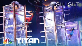 Carla Miranda and Nika Sedghi Test Balance and Arm Strength on Tower Drop - Titan Games 2019
