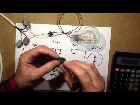 Simple resistive dropper for LED filament lamp.