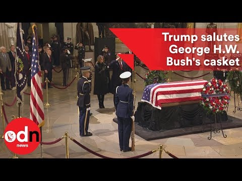 President Donald Trump Salutes George H.W. Bush's Casket