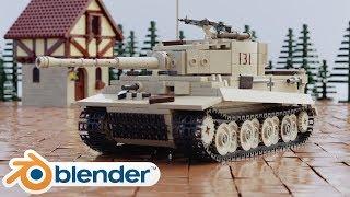 🔴Lego Tiger Tank Animation Blender WW2  Mocs Rig - Timelapse rigging tank tracks