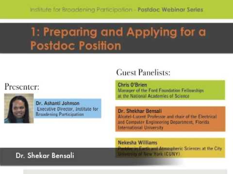 Preparing and Applying for Postdoc Positions