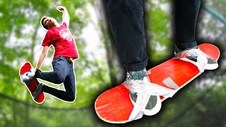 DUCT TAPING MY SHOES TO TRAMPOLINE SKATEBOARD!