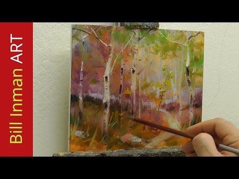 How to Paint Spring Aspen Trees Art Class Demo Fast Motion