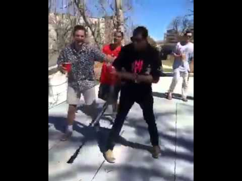 Dude fall of the Roof while bat spinning drunk