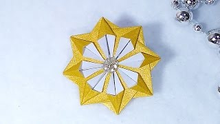 Christmas star in origami style. Easy paper star. Tiny Christmas ornament - star