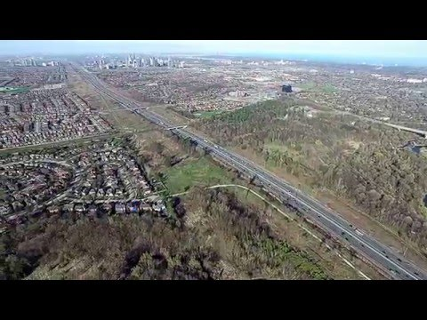 Drone view of 403 through Mississauga