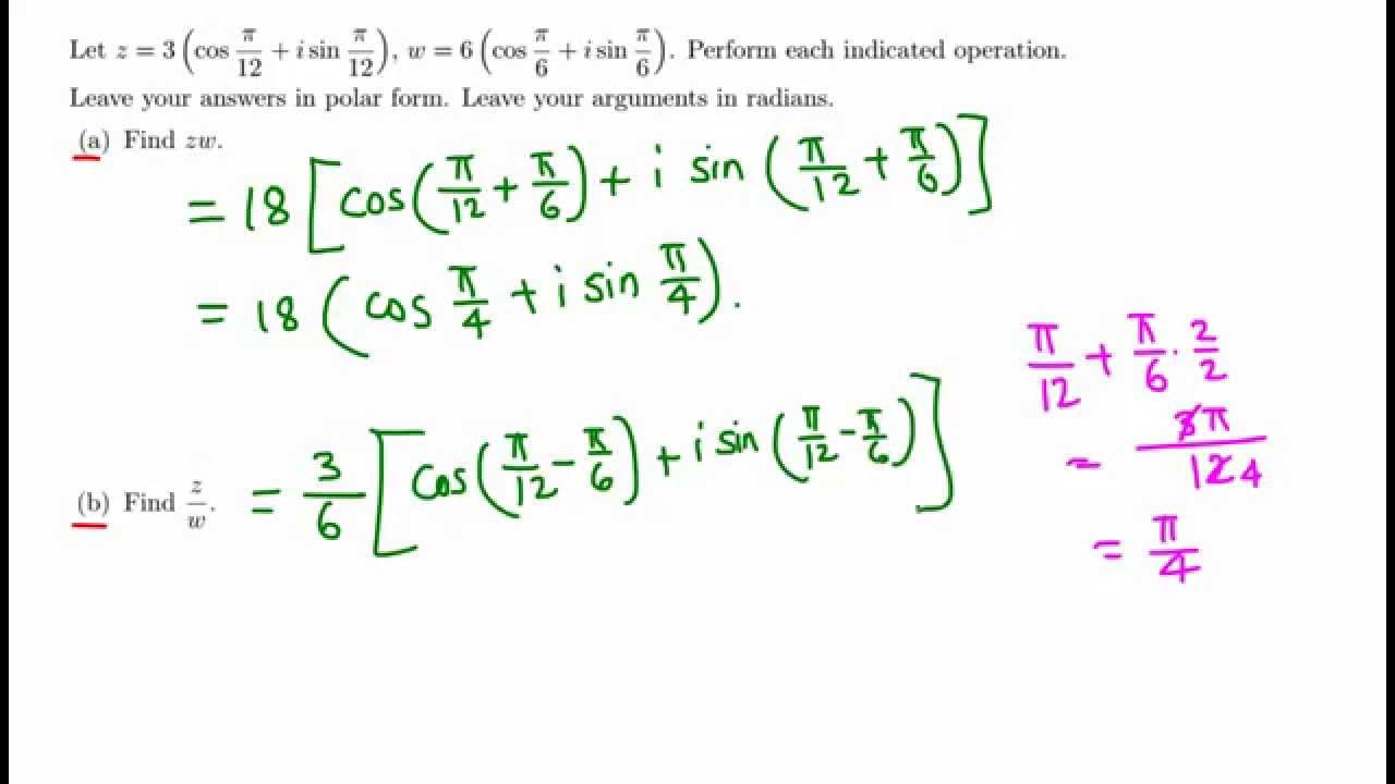 Trig: Product and quotient of two complex numbers in polar form ...