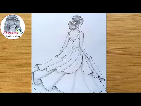 How To Draw A Girl With Beautiful Dress Step By Step Pencil Sketch For Beginners Girl Drawing Youtube