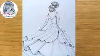 How to draw a girl with beautiful dress -step by step || Pencil sketch for beginners || Girl Drawing