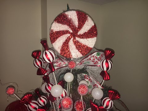 Peppermint Candy Cane Themed Christmas Tree Decorating Youtube