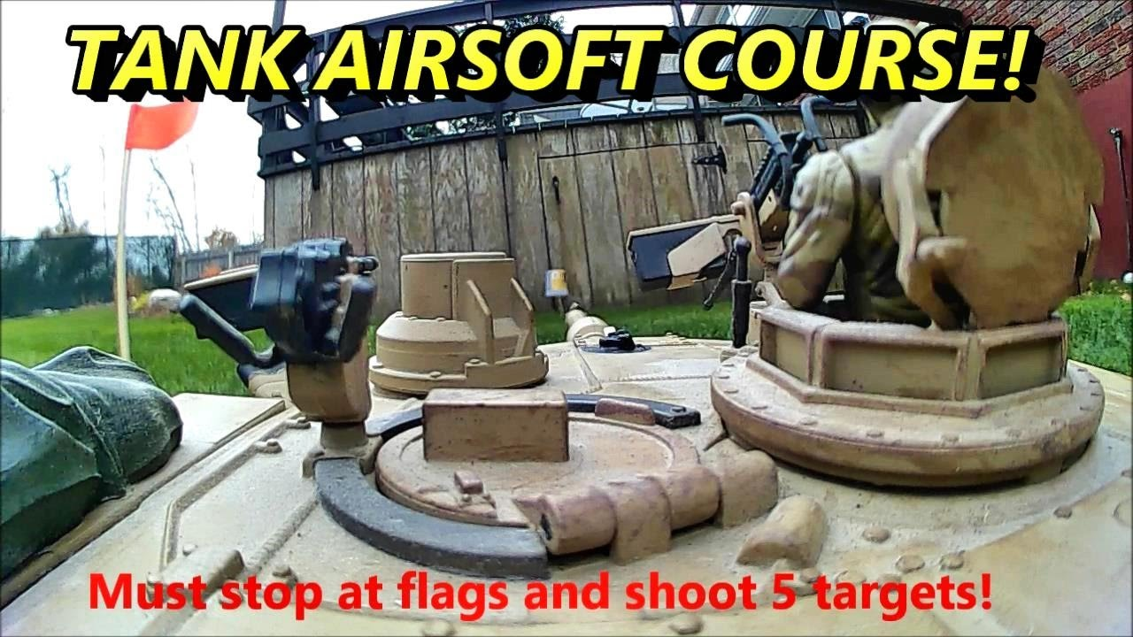 Rc battle tank airsoft shooting course challenge!