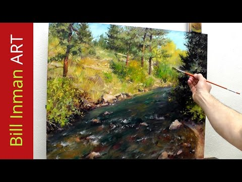 How to Paint a Colorado River and Trees - Online Art Classes in Oil or Acrylic Fast Motion Video