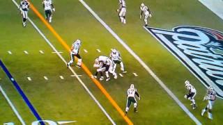 Jets Player breaks helmet on hit