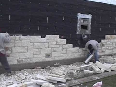 Masonry Installing The Limestone Exterior Walls Youtube