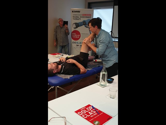 Nerve Entrapment affecting the right hamstring RSWT treatment   EMS Swiss Dolorclast Academy SDCA