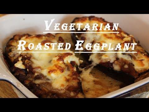 Greek Style Vegetarian Stuffed Eggplant: Veg. Melitzanes Papoutsakia
