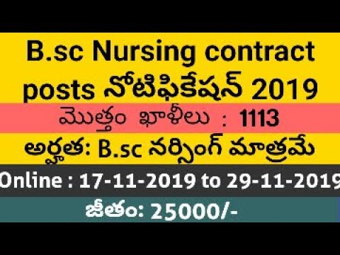 B.sc NURSING JOBS Notification  2019 Contract Basis And Salary For The Jobs Is 25000/-