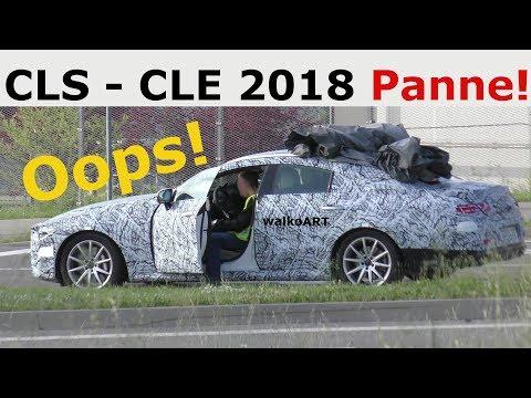 Mercedes Erlkönig CLS - CLE Oops! PANNE + Rücklichter -prototype breaks down + backlights SPY VIDEO