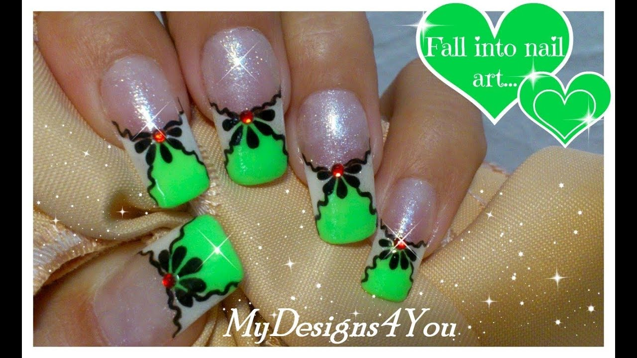Green Nail Art Design | Summer Floral Nails | French Tip ♥ - YouTube
