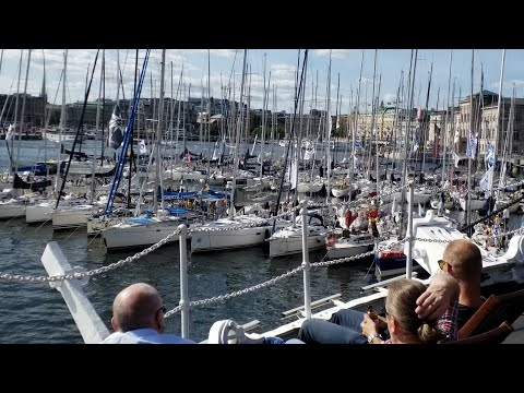 4 K. ÅF Offshore Race 2019. At Skeppsholmen before start. Rán 7, a FAST40+ design that stands out!