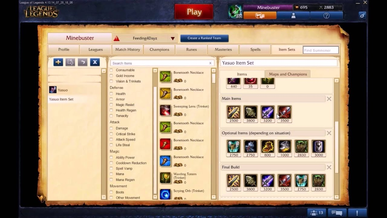 how to set build lol