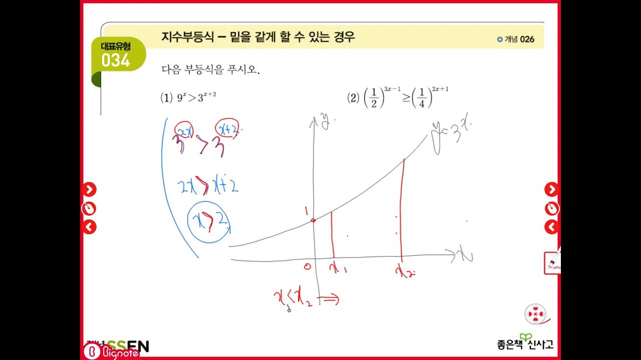 고2 고등수학 수학1 개념쎈수학1 3단원 지수함수 유형34 지수 ...