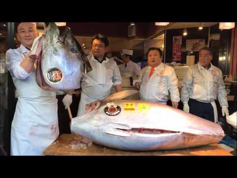 Noworoczna aukcja tuńczyka Tsukiji Japonia 2017 / New Year's Tuna Auction Tsukiji Tokyo