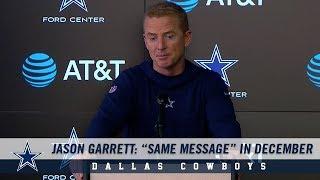 "Jason Garrett Press Conference: ""Same Message"" In December| Dallas Cowboys 2018"