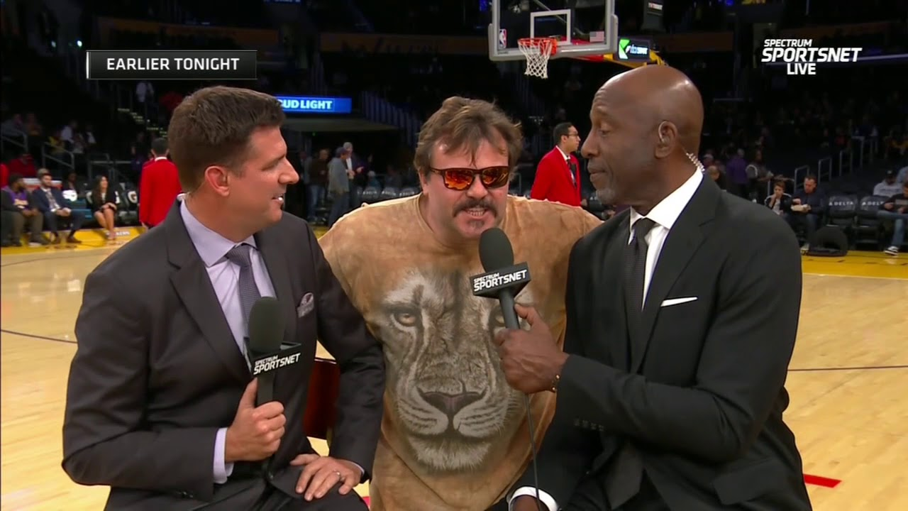 Jack Black Interrupts Lakers Pregame With A Freestyle Espn Youtube