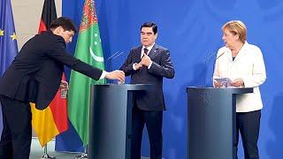 Бердымухамедову заменили воду во время встречи с Меркель. Президент Туркменистана в Германии