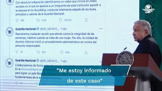 El presidente Andrés Manuel López Obrador, durante su conferencia matutina, condenó la agresión de la que fue víctima una mujer por parte de un elemento de la guardia nacional