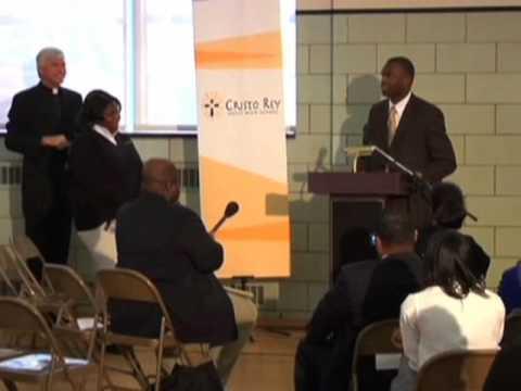 Myron Rolle Speaks to Cristo Rey Jesuit High School's Students