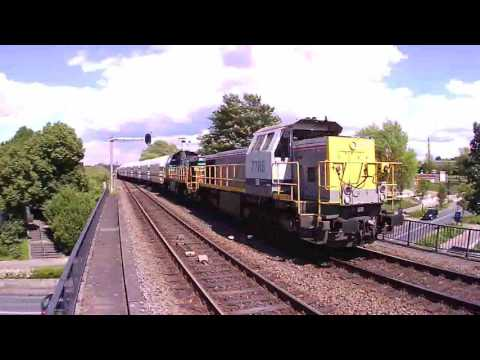 2 Lineas Class7700 Locomotives With Lime Train at Tegelen NL 20.5.2017