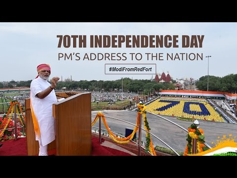 PM Modi at flag hoisting ceremony during 70th Independence Day at Red Fort, Delhi - 15 August 2016