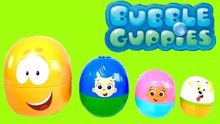 BUBBLE GUPPIES Stacking Cups Surprise Eggs Nick Jr. - Bath Toys - Mr. Grouper Gil Molly Puppy