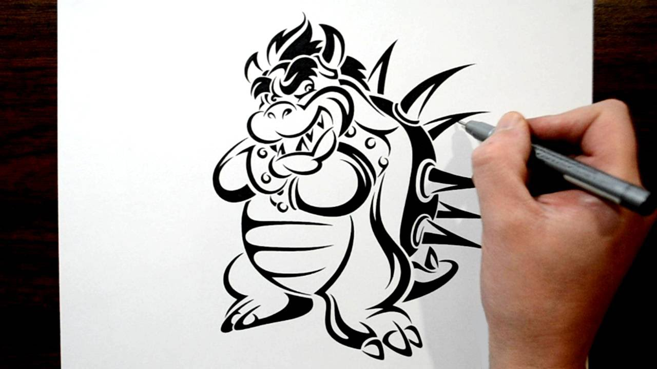 drawing bowser in a tribal tattoo design style youtube. Black Bedroom Furniture Sets. Home Design Ideas